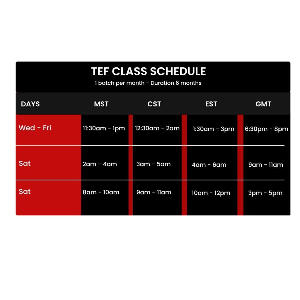tef class schedule